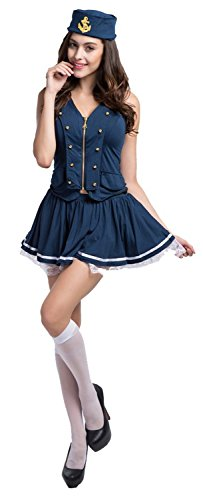 [Laolaooo Design Nautical Doll Pin-Up Sailor Sea Captain Costume Anchors Away Lace Bottom Blue28/30 Plus Hot] (Aerobics Costume Designs)