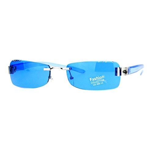 SA106 Luxury Rhinestone Iced Out Rimless Narrow Rectangular Sunglasses Blue