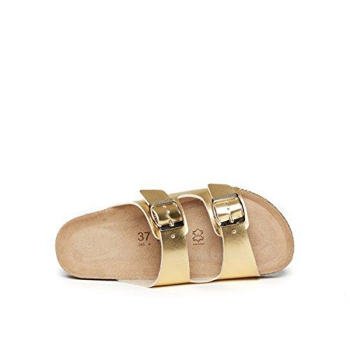 Mandèl Sandalo, Damen Sandalen Gold Gold