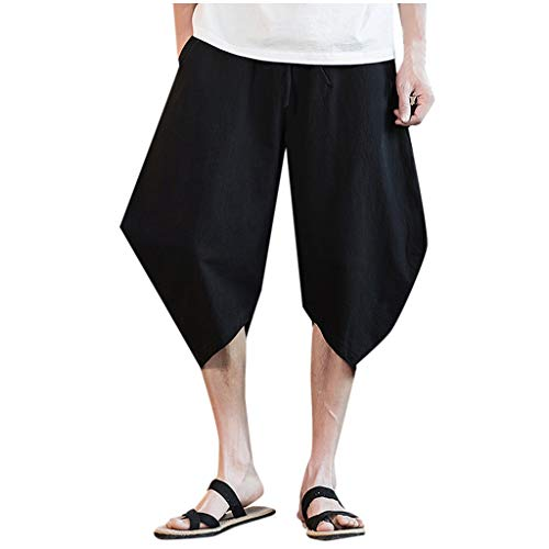 Matasleno Fashion Trousers Linen Style Loose Casual Breathable Outdoor Summer Solid Sweatpants Black (Capilene 2 Cap)