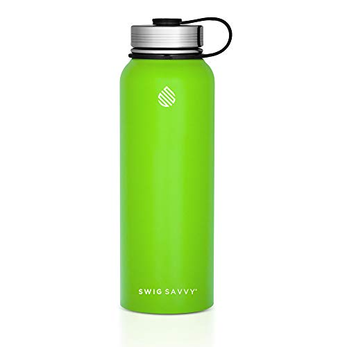 SWIG SAVVY Water Bottles Stainless Steel - Vacuum Insulated Water Bottle + Stainless Steel Leak & Sweat Proof Cap Double Wall Thermos Flask for Hot or Cold Beverages (Green, 30 oz)