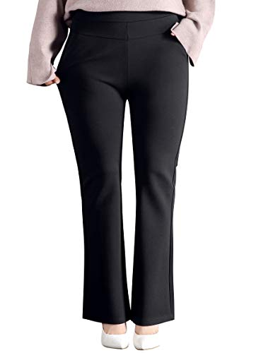 ABCWOO Women's Plus Size Pull-on Work Pants for Office Ladies Yoga Dress Trousers Black US Size 24W