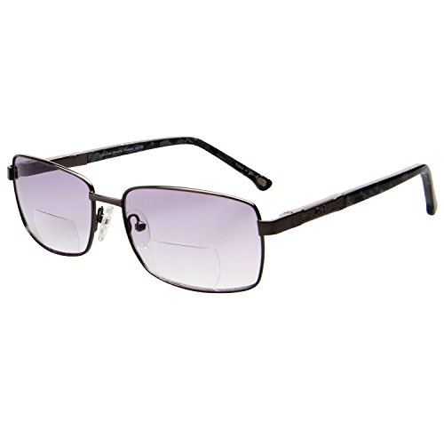 LIANSAN Bifocal Tinted Oversized Reading Glasses for Men Women Metal Readers 1.5 2.0 1.00 2.5 3.0 3.5 7008 Grey - Tinted Eyeglasses Online