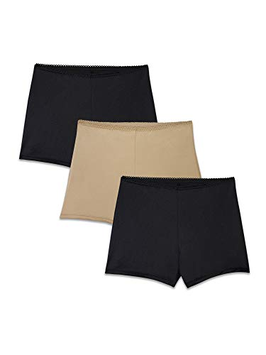 Brilliance by Vanity Fair Women's 3-Pack Undershapers Light Control Boyshort Panty 42301, Honey Beige/Black, X-Large/8