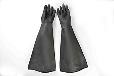 "Heavy Duty Rubber Gloves,Gauntlet work,Sandblast Cabinet Gloves,Natural Rubber Gloves,Dry Box Safety Gloves,Resist water,Resist Acid and Alkali of normal temperature, 26""length,1 Pair"