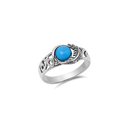 Noureda Sterling Silver Round Turquoise Stone with Leaf and Flower Vine Design Fancy Band Ring, Face Height of 10MM