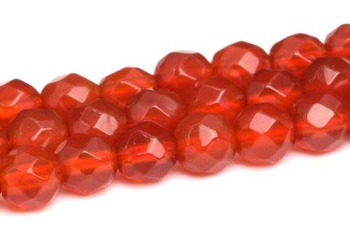 4mm Natural Red Carnelian Beads Grade Faceted Round Gemstone Loose Beads 14'' Crafting Key Chain Bracelet Necklace Jewelry Accessories Pendants ()