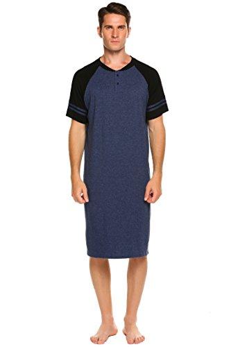 Ekouaer Men's Night Shirt Caftans Plus Size Pajama Short Sleeve HenleyNightshirt (Navy Blue, Medium)