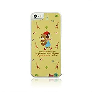 PEACH Little Red Riding Hood Girl and The Bear Leather Vein Pattern PC Hard Case for iPhone 5/5S