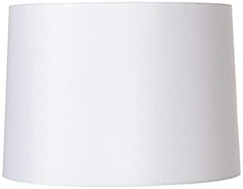 White Fabric Hardback Lamp Shade 13x14x10 (Spider) - Brentwood (Shade Circular Lamp)