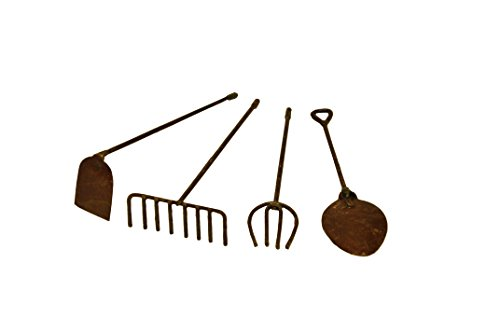 G & F MiniGardenn 10024  Fairy Garden Miniature Tools (Set of 4), Rustic