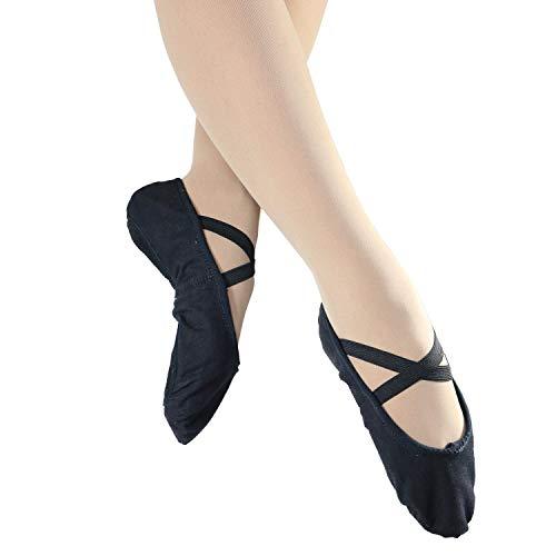 Danzcue Adult Split Sole Canvas Ballet Slipper (5 M, Black)