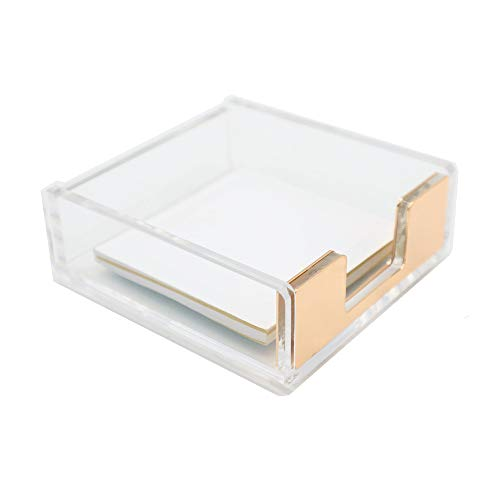 MEI YI TIAN Clear Acrylic Gold Self-Stick Note Pad Holders Memo Note Cube Holder Dispenser 3.5x3.3 Inch for Office Home Schools Desk Supplies (Gold)