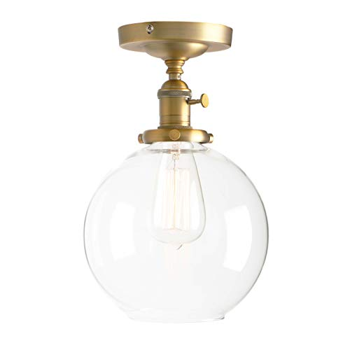Permo Vintage Ceiling Light 1-Lights Pendant Lighting Chandelier with 7.9 Globe Clear Glass (Antique)