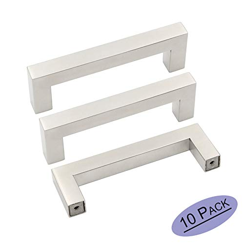 10Pack Goldenwarm Brushed Nickel Square Bar Cabinet Pull 3-1/2in Center to Center Drawer Handle Stainless Steel Modern Hardware for Kitchen and Bathroom Cabinets Cupboard