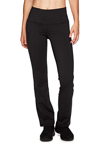 RBX Active Women's Fleece Lined Flared Athletic Boot Cut Yoga Pants with Pocket Black XL (Rbx Active Womens Fleece Cuffed Jogger Sweatpants)