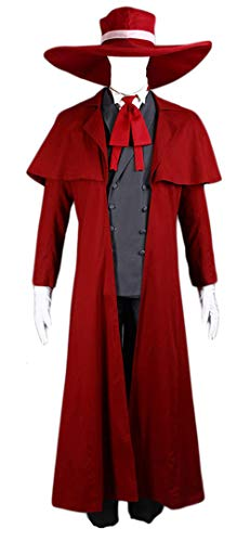 CHIUS Cosplay Costume The Count Vlad III Dracula Read Alucard Outfit Version 1 Red, Gray ()