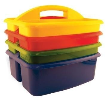 School Specialty Large Plastic Art Caddies - Set of 4 - Assorted Colors