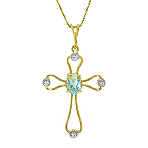 0.57 Carat 14K Solid White Rose Yellow Gold Faith Aquamarine Diamond Necklace 4089 (yellow-gold, 20)