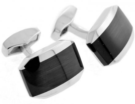 Tateossian Mens Rhodium Fibre Optic Hexagonal Cufflinks - Silver/Black