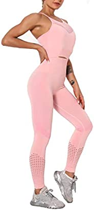 MANON ROSA Workout Set Women 2 Piece Activewear Clothes Seamless Gym Sports Bras Biker Shorts Outfits Fitness