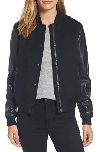 Retro Wool Jacket - Women's Varsity Jacket for Baseball Letterman of Black Wool and Genuine Black Leather Sleeves (S, Black)