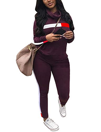 Women's Sweatsuit Crowl Neck Long Sleeve Sweatshirt Pullover Tops and Side Stripe Pants Set Casual Sport Tracksuit Purple X-Large