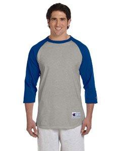 3/4 Sleeve Oxford Shirt (Champion Men's Raglan Baseball T-Shirt, Oxford Gray/Team Blue, X-Large)