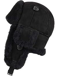 Zavelio Trapper Trooper Leather Aviator Bomber Genuine Shearling Sheepskin Hat Black Suede L