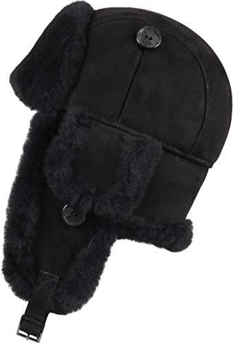 Zavelio Trapper Trooper Leather Aviator Bomber Genuine Shearling Sheepskin Hat Black Suede XXL