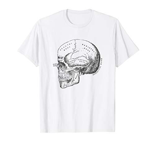 Vintage Anatomy Skull T-Shirt Skeleton Diagram Graphic Tee ()