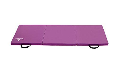 Alpha Mats Tri-Folding Gymnastics and Exercise Mat for Aerobics, Yoga, Martial Arts - 2 x 6 Feet, Purple