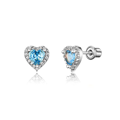 925 Sterling Silver Rhodium Plated Light Blue Heart Cubic Zirconia Screwback Baby Girls ()