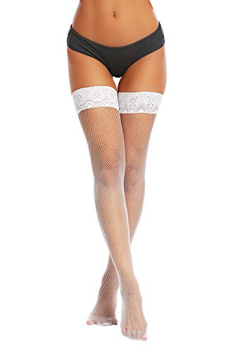 Joyaria Womens Fishnet Thigh High Stockings Lace Top Stay Up Stocks with Silicone (White, One Size)