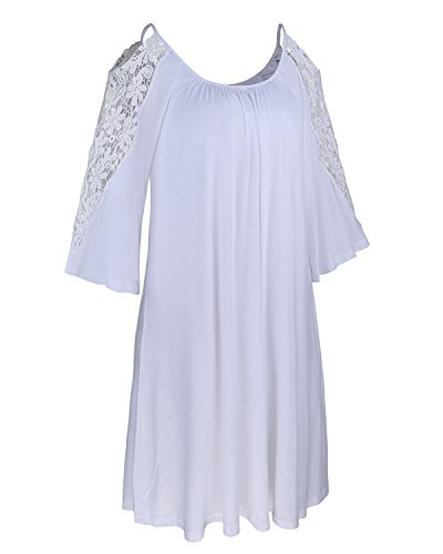 Ineffable Women's 3/4 Sleeve Off Shoulder Tunic Tops Loose Casual Dress(White, M)