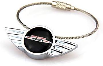 BJJS Steel Wire Car key Chain Keyring Keychain FOB Remote Key Cover Trim For All Mini Cooper 14