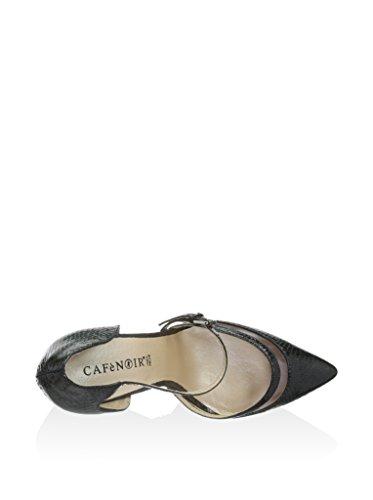 CAF NOIR LM807 mujer negro correa de dedo del pie stiletto talón del zapato Negro