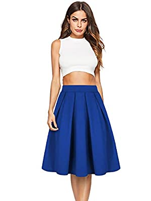 Beluring Womens High Waist Flared Midi Skirts with Pockets