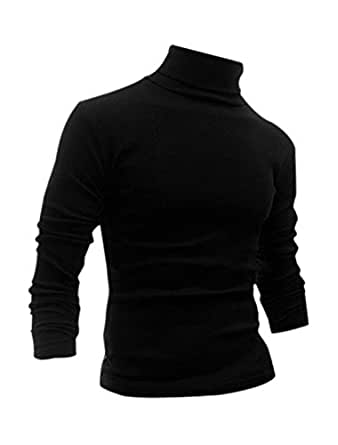 Allegra K Man Long Sleeve Turtle Neck Slim Fit Pullover Casual T-shirt Black S