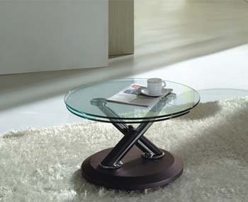 Acai Glass Extending Coffee Table In Brown Color Brown Amazon