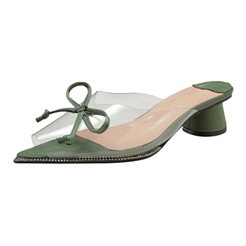 ◕‿◕Watere◕‿◕ Womens Solid Transparent Low Heel Wedge Sandals Peep Toe Slipper Wedding Party Flats Shoes Roman Sandals -