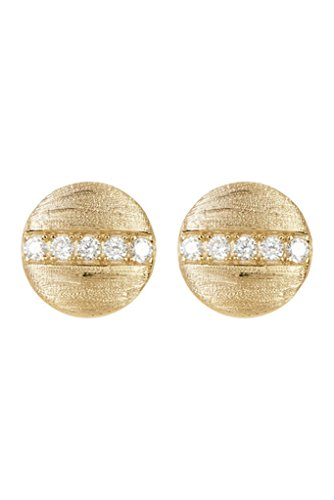 Yellow Gold Vermeil and Swarovski Crystal Coin Studs ()