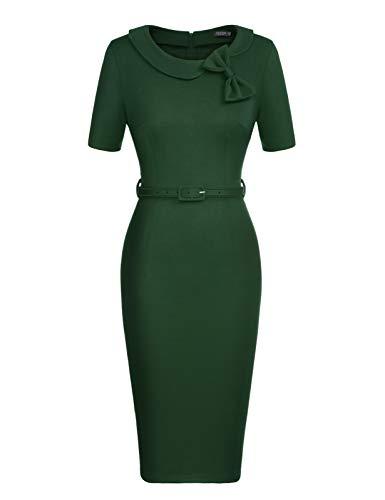 CHICIRIS Women's Pinup 1960s Style Bowknot Collar Knee Length Bridesmaid Dress Green S