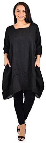 Zopali Women's Plus Size Breathable Linen 3/4 Sleeve Bubble Hem Pullover Dress Top, Black, (Bubble Hem Balloon)