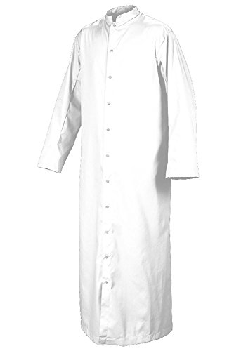 Roman Server - White Roman Adult Altar Server & Deacon Cassock with Snaps by Abbey Brand (Style #216S) Size 18X