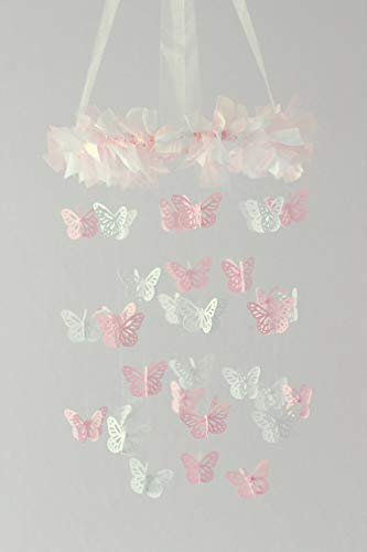 Butterfly Nursery Mobile in Light Pink & White- SMALL SIZE