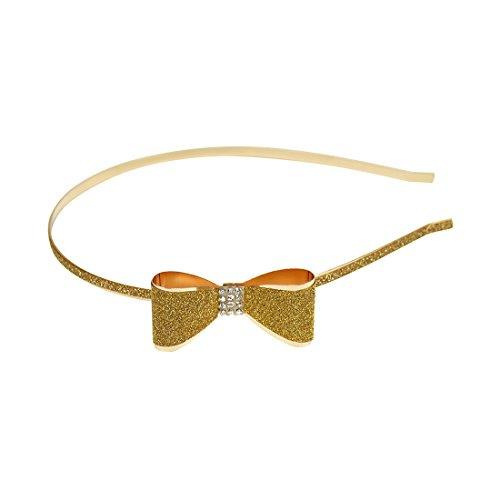 Gold Thin Bow Headband Updo Fancy Hair Band Sparkly