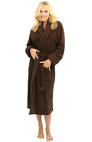 Del Rossa Women's Turkish Terry Cloth Robe, Thick Bathrobe, Large XL Chocolate Brown (A0106WCTXL) (Terry Embroidered Jacket)