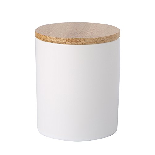 BRT Ceramic Canister Ceramic Storage Jar Tea Container With Bamboo Lid (airtight) (Glossy White, 10x15cm) (Lid Cookie Jar Ceramic With)