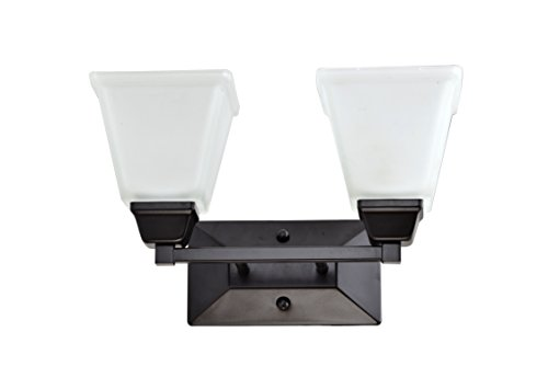 IN HOME 2-Light Bath Bar Light Up or Down, Interior Bathroom Vanity Wall Lighting Fixture VF37, 2x60 Watt E26 Socket, Oil Rubbed Bronze Finish with Square Etched Glass Shade, UL Listed